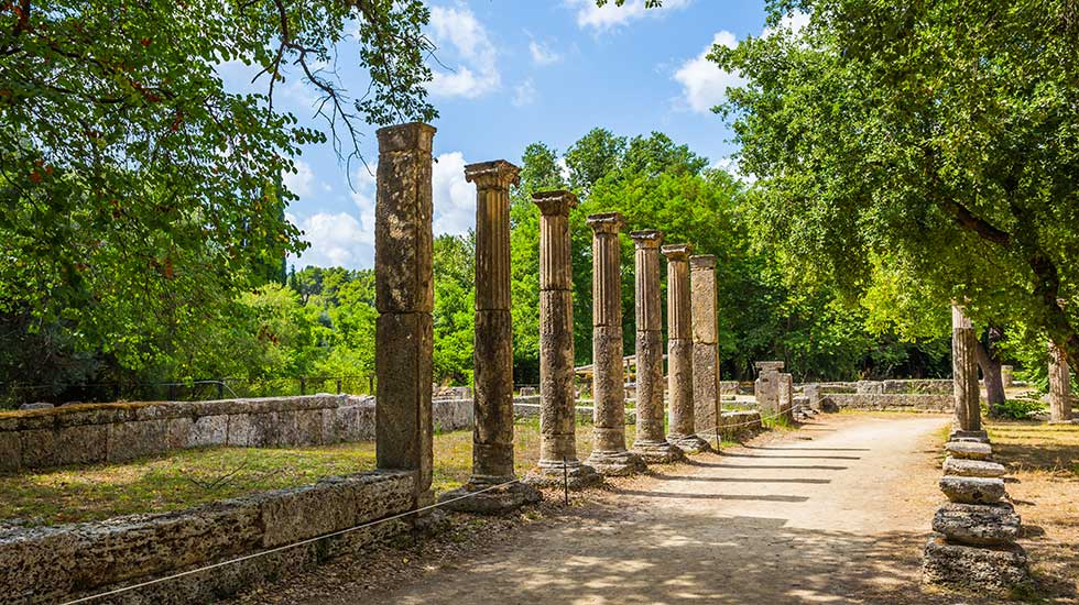 archaelogical sight ancient olympia peloponnese greeece